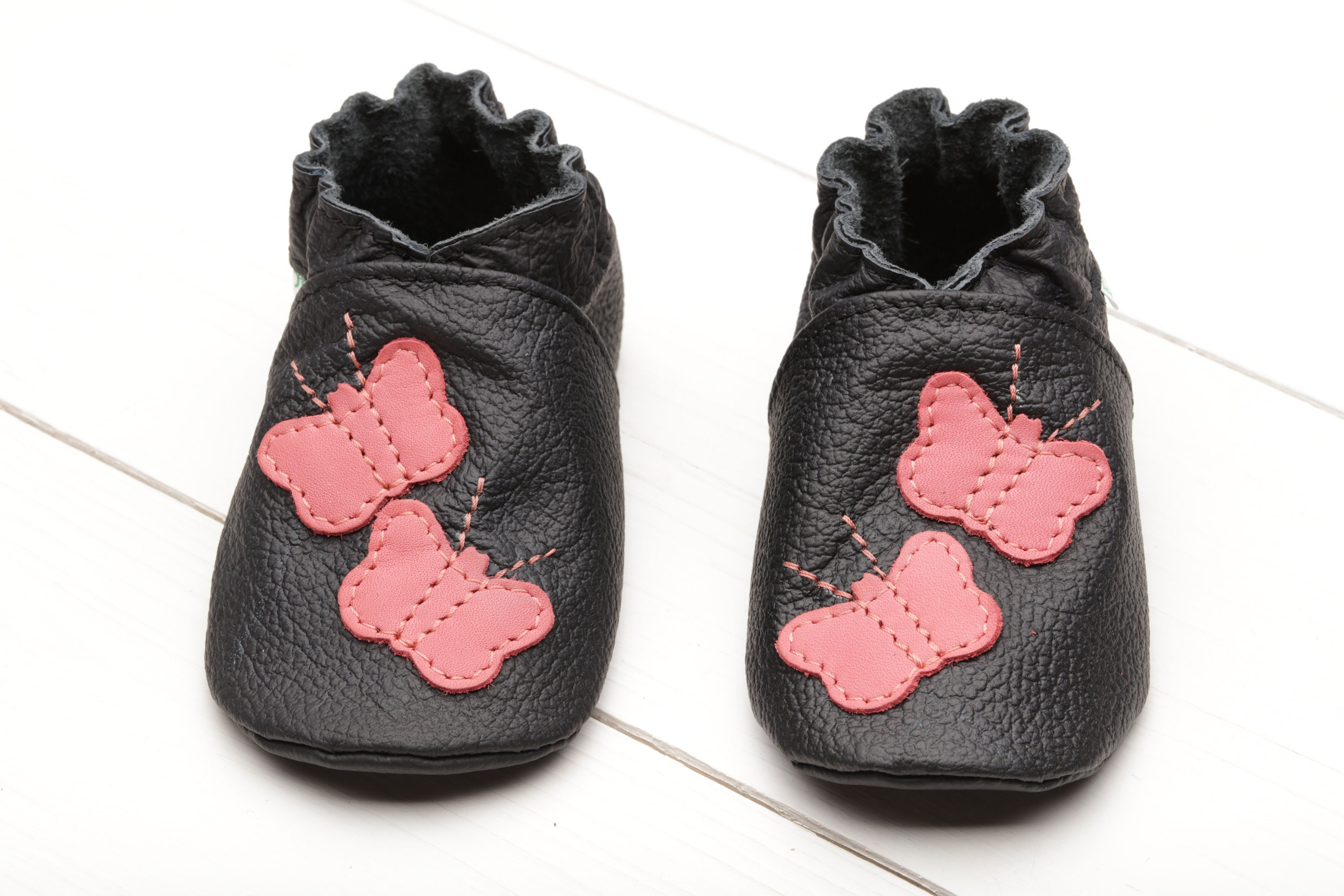 10148ee5058a8 Black Baby Shoes, Girls', Leather Baby Moccasins, Soft Sole Toddler  Slippers, Newborn Shoes, Pink Butterfly Baby Shower, Baby Gifts, Evtodi