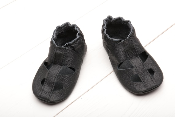 cd8314cf44f71 Black Leather Baby Shoes, Soft Sole Baby Sandals, T-strap Shoes, Boys',  Girls', Summer Toddler Shoes, Infant Shoes, Baby Booties, Evtodi