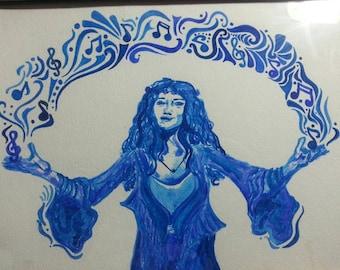 Janis watercolor monochrome print