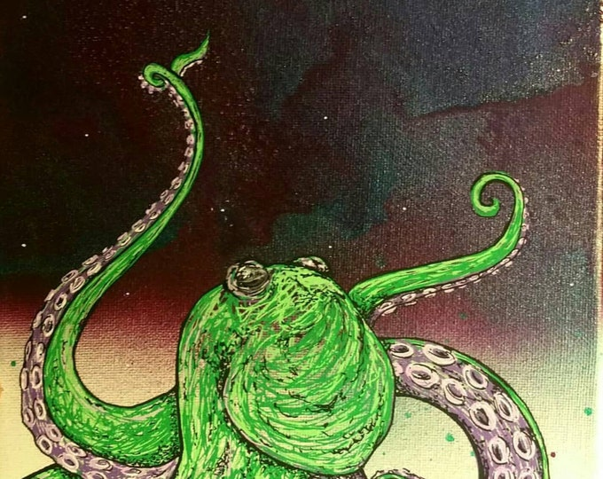 Green and Purple Sky Octopus