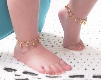 Baby Anklet, Gold Ankle Bracelet, First Birthday Girl, New Baby Gift, Gypsy Wedding, Bell Anklet, Boho Flower Girl, Modern baby, Shower Gift