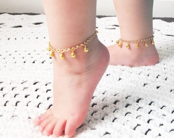 First Birthday Gift, Gold Baby Anklet, Boho Baby, Barefoot Baby,  Bell Anklet, Christening GIft, Gypsy Baby, Toddler Girl Gift,