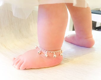 Bell Anklet - Set of 2 - First Birthday, Baby Shower, Baptism Gift Set, Unique Baby Gift, Beach Wedding, Flower Girl Gift