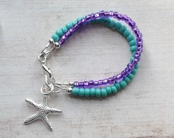 Mermaid Birthday Girl Party Favor, Little Girl Gift, Beach Wedding Baby Girl Bracelet, Double Strand Seed Bead Bracelet, 1st Birthday