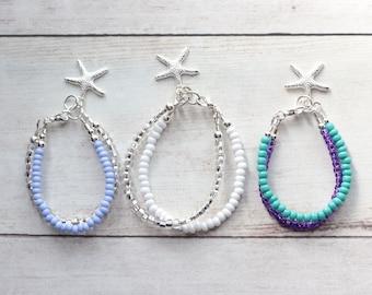 Baby Bracelet, Double Strand Seed Bead Bracelet, Starfish Bracelet, Little Girl Gift, Monochrome Beach Theme Flower Girl, Mermaid Birthday