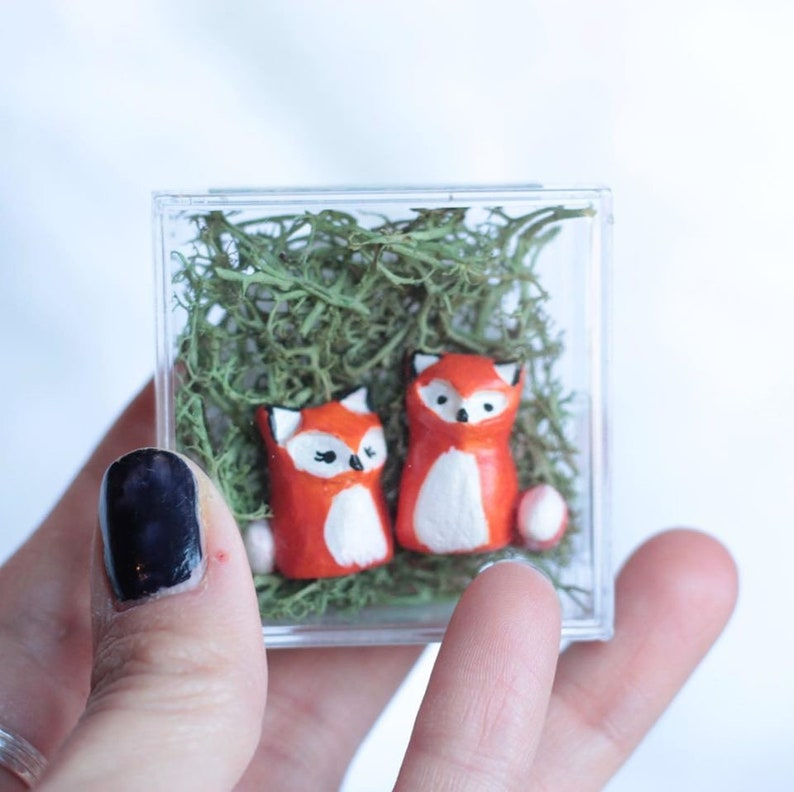 Woodland Fox Couple Fairy Garden Tiny Art Animal Totem image 0