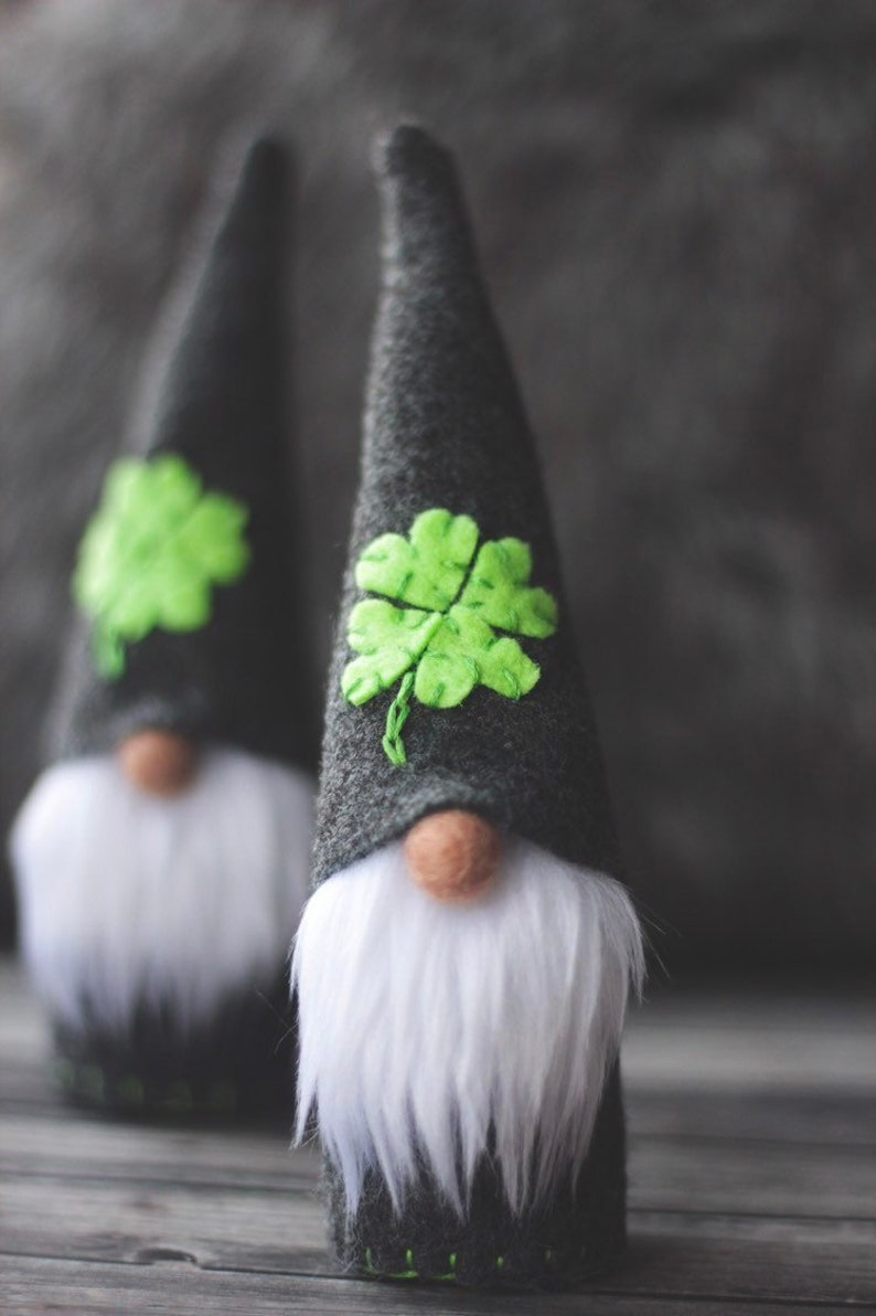 LUCKY  Shamrock Felt Gnome St Patricks Day Ornament Tomte image 0