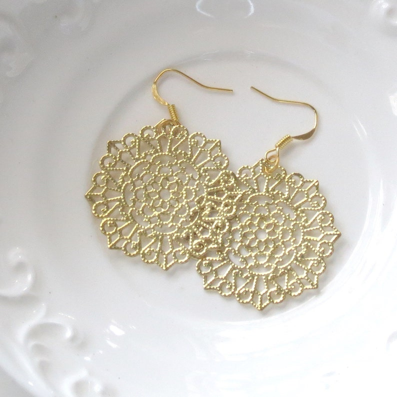 Gold Lace Earrings Filigree Earrings Mandala Earring image 0