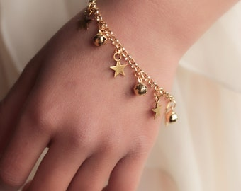 Star Charm Anklet with Bells, Gold - First Birthday Gift, Baby Anklet, Boho Baby, Barefoot Baby,  Bell Anklet, Christening, Beach Jewelry