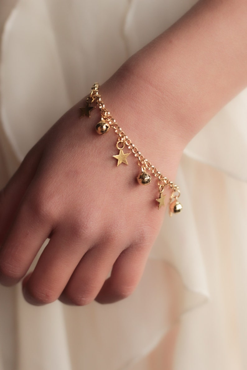 Star Charm Anklet with Bells Gold  First Birthday Gift Baby image 0