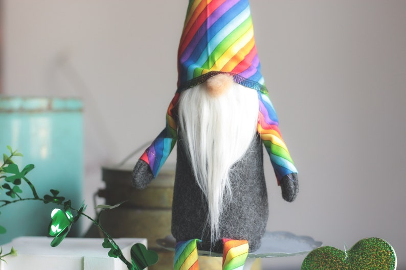Rainbow Gnome Tomte Goodluck Charm St Paddys Day Decor image 0