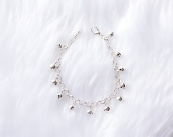 Baby Anklet with Bells, Silver Jingle Bell Bracelet, First Birthday, Trendy Baby Gift, Cake Smash, Flower Girl, Gypsy Baby, Baby Girl Gift