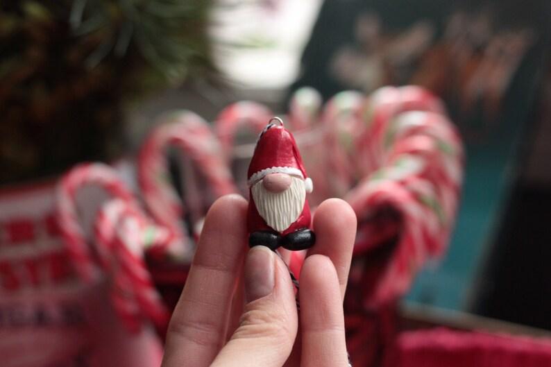Santa Gnome Ornament Holiday Gnome Fairy Garden Polymer image 0