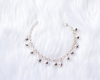 Star Charm Anklet with Bells, Silver - First Birthday Gift, Baby Anklet, Boho Baby, Barefoot Baby,  Bell Anklet, Christening, Beach Jewelry
