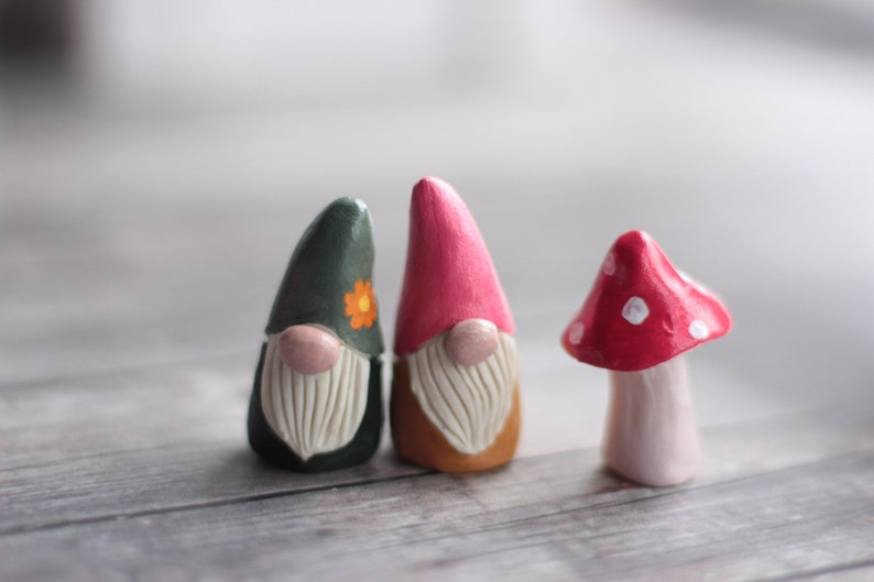 Gnome Miniature Art Set Woodland Gnome Fairy Village Tomte image 0