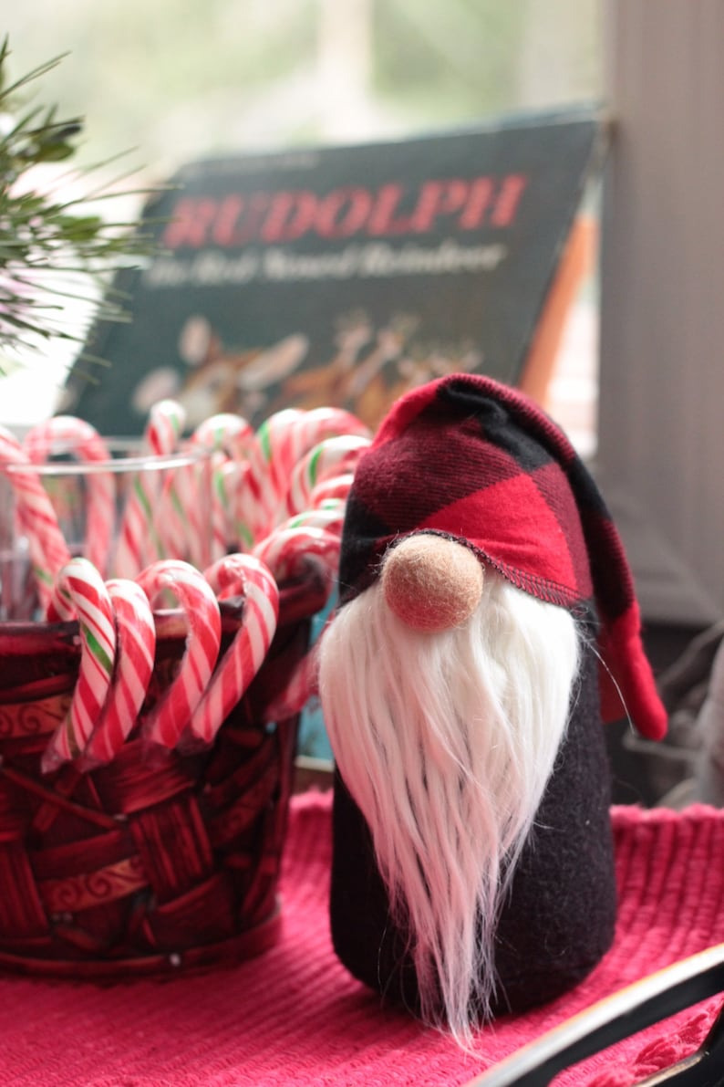 Buffalo Plaid Gnome Traveling Tomte Nordic Santa Holiday image 0
