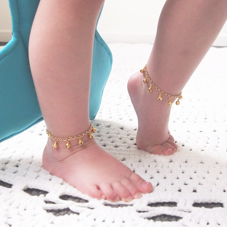 Baby Shower Gift Gold Ankle Bracelet First Birthday Baby image 0