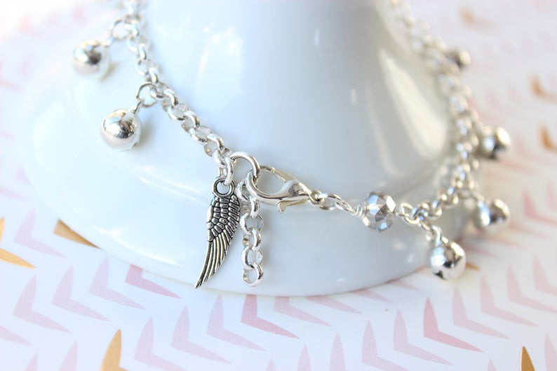 Bell Anklet with Wing Charm   Jingle Bell Ankle Bracelet image 0
