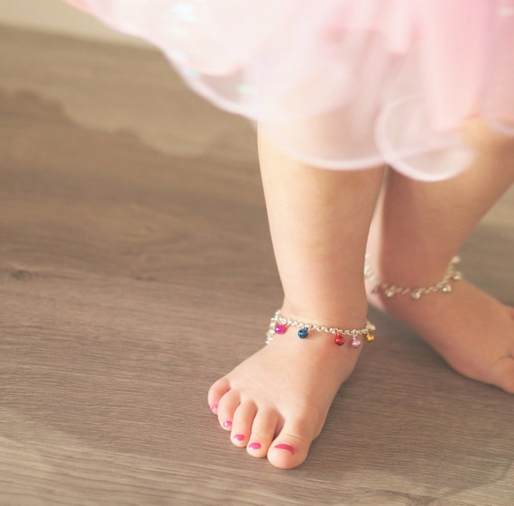 Ankle Bracelet Indian Jewelry Beautiful Anklets with Bells and Multi Coloured Glass Stones Indian Anklet Boho Anklet