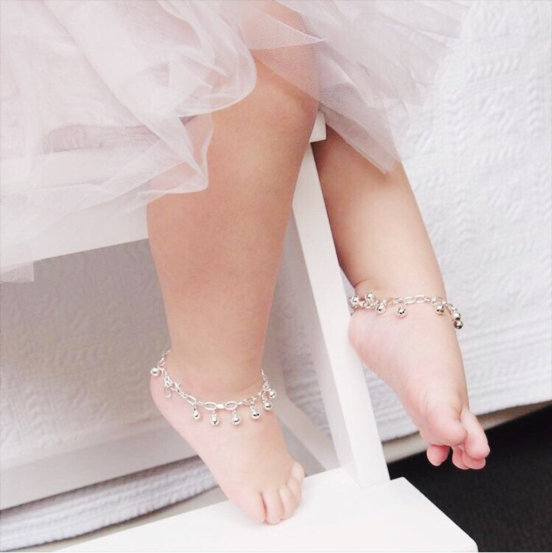 Baby Anklet with Bells First Birthday Flower Girl Gift image 0