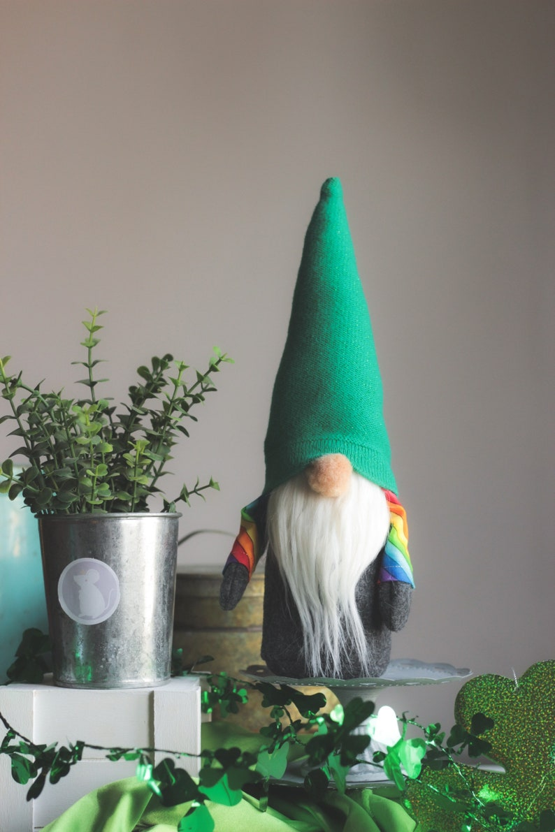 Sweater Gnome Tomte Rainbow Gnome St Paddys Day Decor image 0