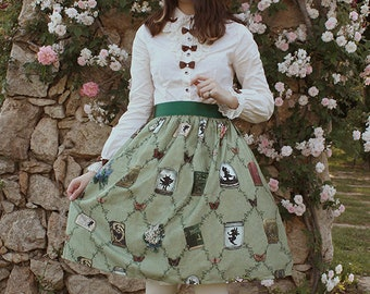 Victorian Lolita Green Skirt - Studying the Fairies - Print Series