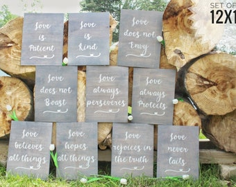 Rustic beach wedding etsy corinthians 13 set of 10 wedding aisle signs wedding decor rustic beach classy wedding ceremony wood signs love is patient signs junglespirit Gallery