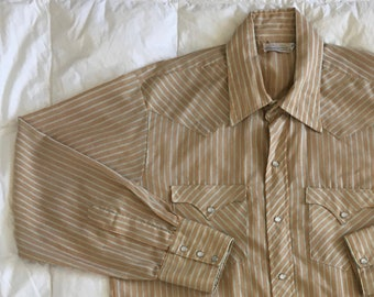 9166a6ff Vintage 60s Striped Western Shirt Long Tail > Large > Beige Blue Striped  Pearl Snap Button Down