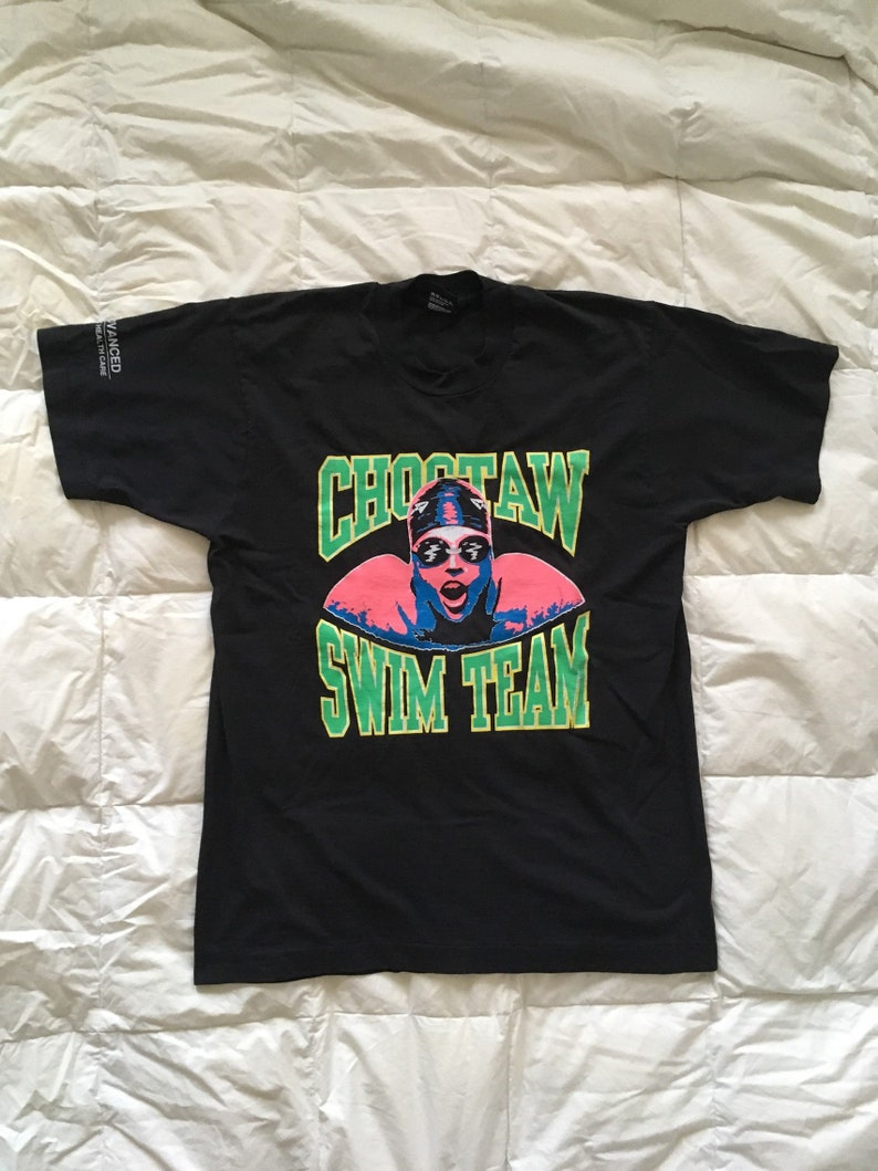Vintage 90s Swim Team T-Shirt Neon  Medium Large  Screen Stars Choctaw Made in USA