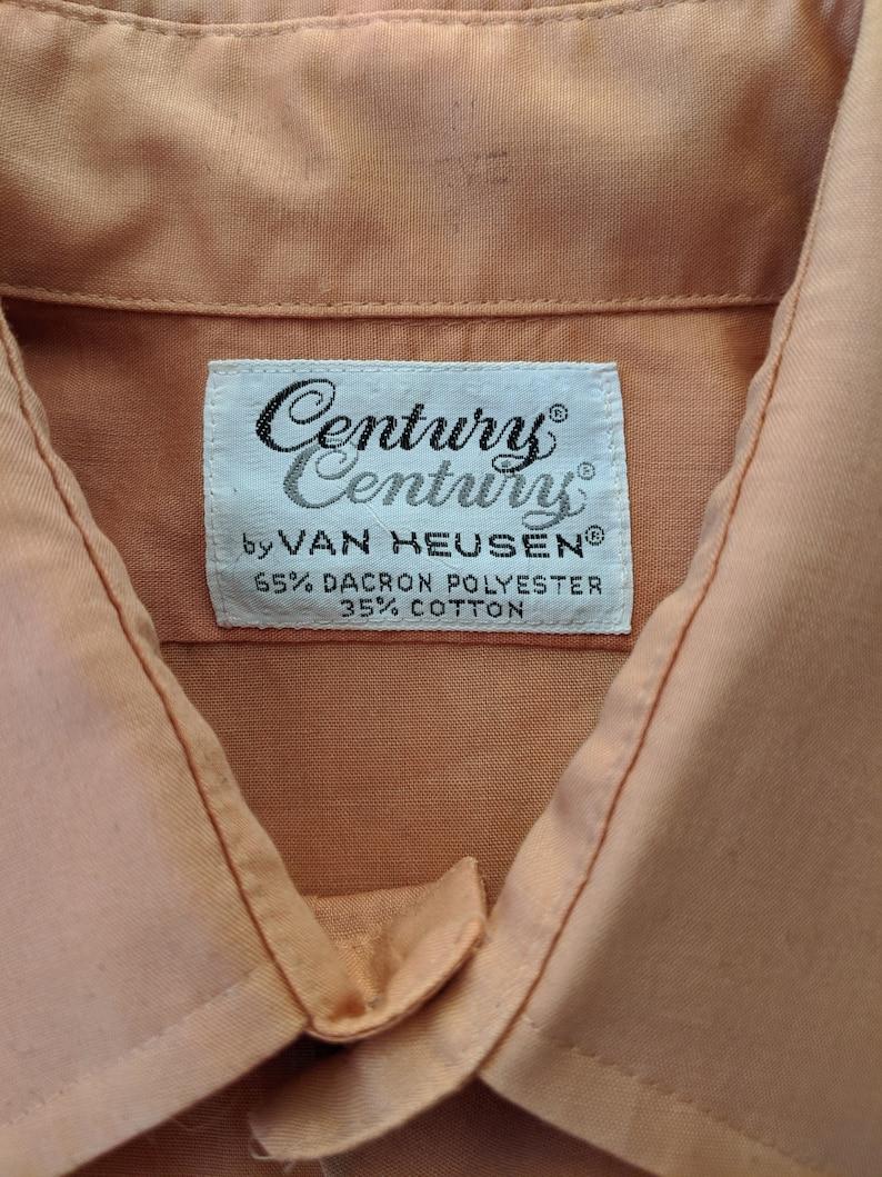 Vintage 70s Orange Shirt Van Heusen Button Down  Medium Small  Short Sleeve Button Up Super Soft