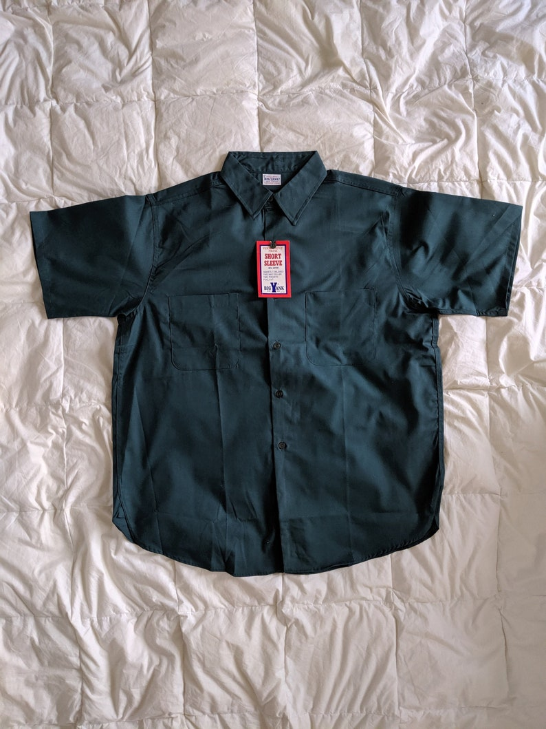 Vintage 70s Green Work Shirt Big Yank Deadstock  Large  Union Made in USA New With Tags