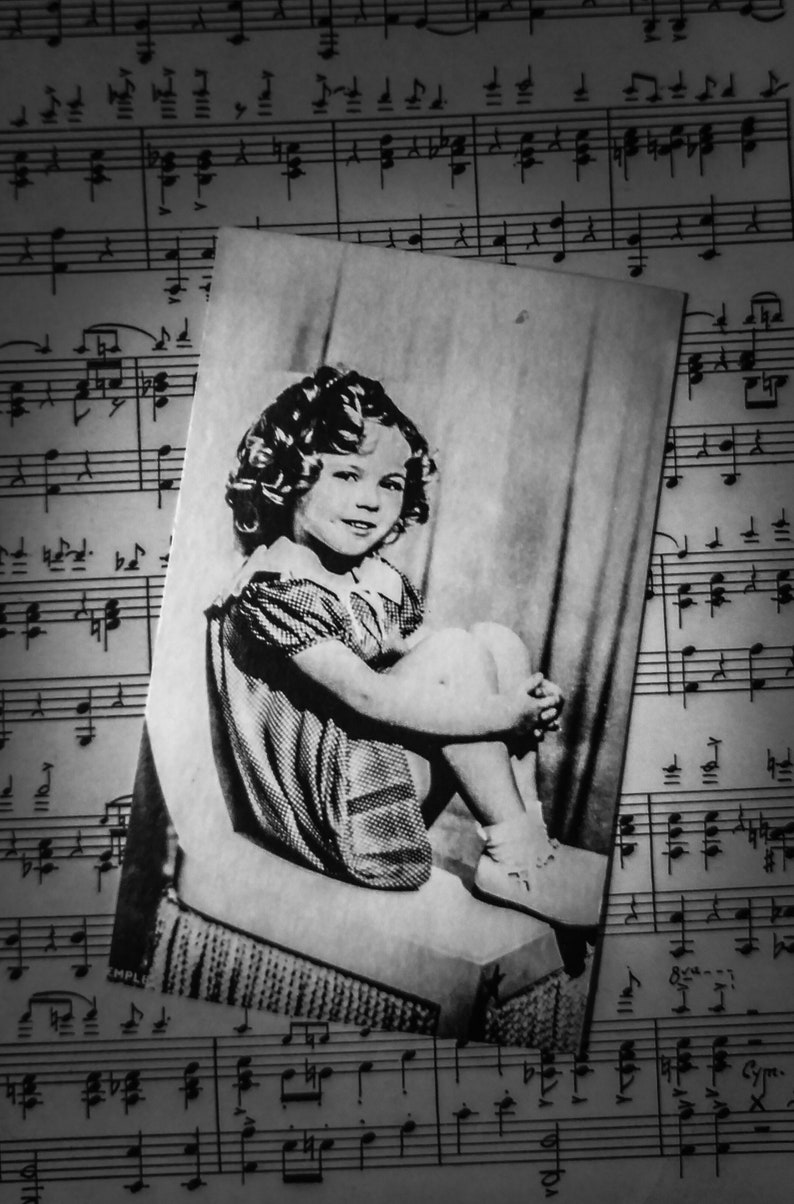 Black and White Vintage Photo Card of Shirley Temple Seated in a Chair |  Golden Age of Hollywood Child Actress | Small Vintage Photo