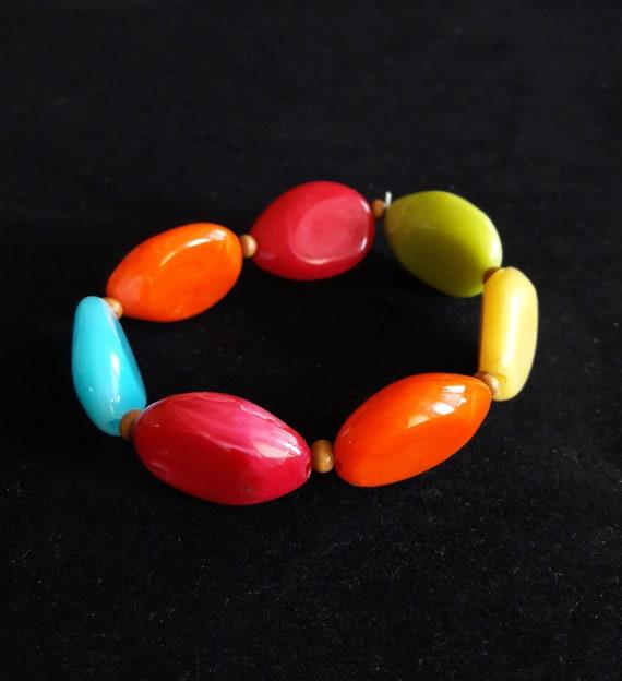 Colorful Plastic Stretch Bracelet   Candy Color Ov