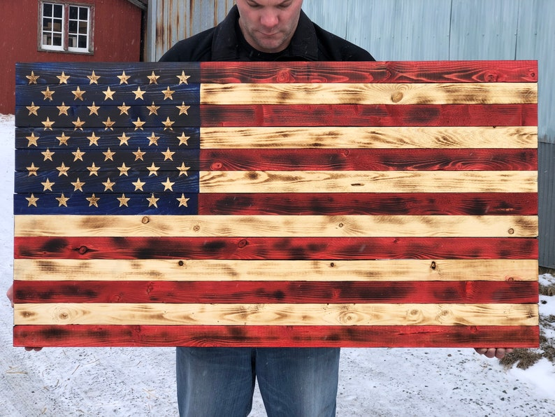 8c8c840381d Wood American Flag Rustic American Flag Patriotic Decor