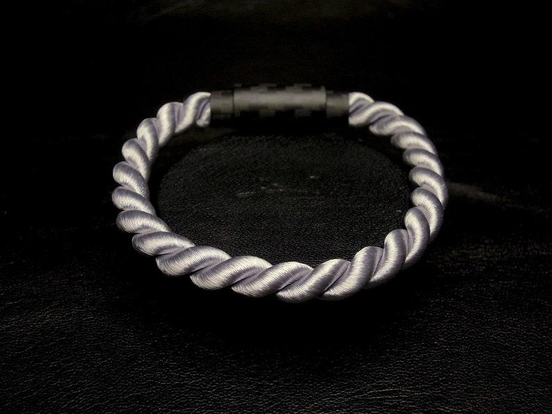Silver Rope Bracelet Twisted Silver Bracelet Silver Rope Bracelet Silvery-Gray Twisted Cord Bracelet Carbon Bracelet