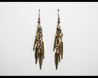 Earrings Feather old gold