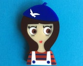 MARTINE Acrylic Brooch, Brunette from Brittany with Blue Bird Beret Hat, Striped tee and White Dungaree