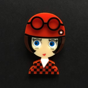 Acrylic brooch POPPY 2! Checkered Jacket and White Turtle Neck.