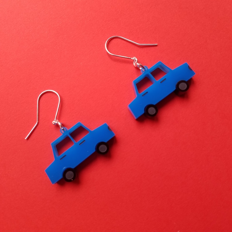 classy and 60s inspired TOY CARS Acrylic Earrings
