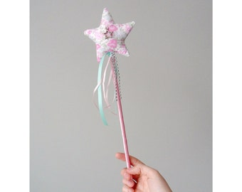 Silver Star & Pink Flower Childrens Wand. Star Wedding Photo Props. Pink and Green Floral Bridesmaid Fairy Wand. Quirky Hen gift for girls.