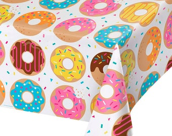 Plastic Rectangle Table Cover in BLACK - 54 inches x 108 inches 137 cm x 274 cm Donut Time Tablecover All Over
