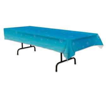 Plastic Rectangle Table Cover in BLACK - 54 inches x 108 inches 137 cm x 274 cm Under The Sea Tablecover, 54 b