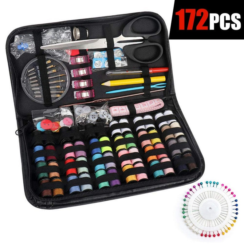 Emergency Tape Measure,Carry Box DIY,Summer Campers,Home Thread Organizer Filled with Scissors Sewing Kit for Traveler Sewing Needles Beginner Thimble Adults Kids