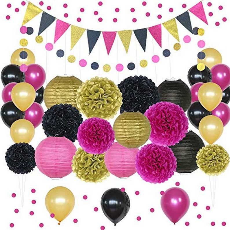 Cream Tassel Light Pink Pink and Gold Birthday Party Supplies Dark Pink Balloons Beautiful Pastel Pink Banner Great for Princess Girl Theme Bday Party Tissue Paper Pompoms Circle Garland