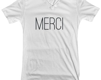 d43a60d9a French Merci Woman's V Neck Graphic Tee 100% Cotton, Novelty Graphic Tee, Fashion  Tee, France Lover, Gift for Fashionista