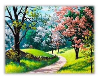 "Flowering Tree Print 30"" x 40"" Canvas"