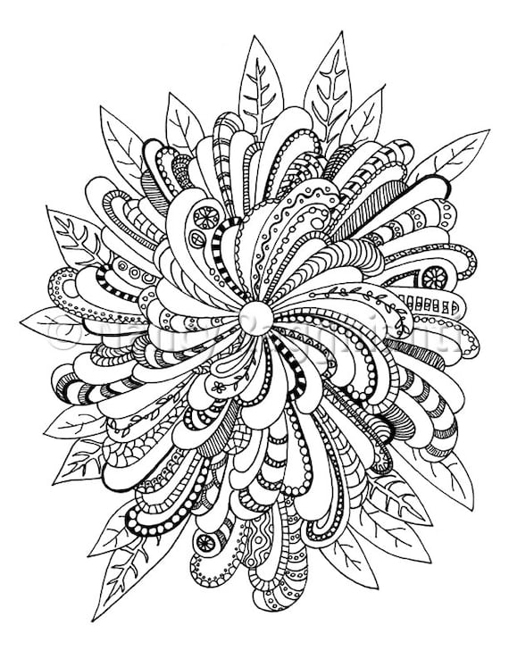 complex design free coloring pages | Printable Coloring Page Digital Download Floral Mandala-ish
