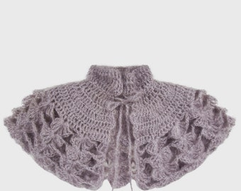 Powder Grey Crochet Capelet With Rose Quartz Beading