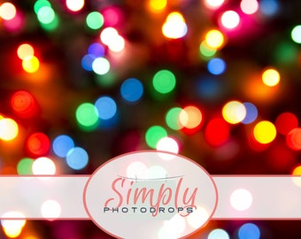NEW Wrinkle Free, GLARE Free Fabric,CHRISTMAS Lights Bokeh , Photography Backdrop