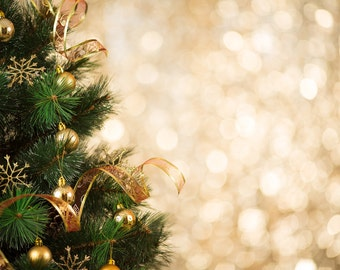 NEW Wrinkle Free, GLARE Free Fabric,Gold CHRISTMAS Bokeh , Photography Backdrop